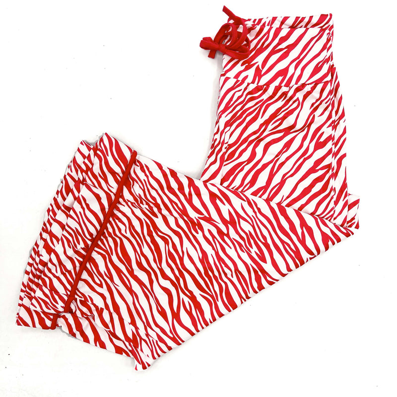 Red Zebra Wide Leg Pajama Pants