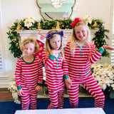Monogram Kids Christmas Striped Pajama Set