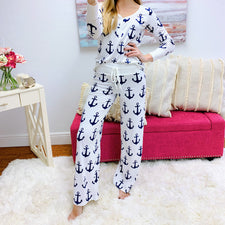 Monogram Navy Pajama Set
