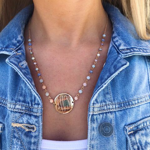 Monogram Moon & Stars Necklace