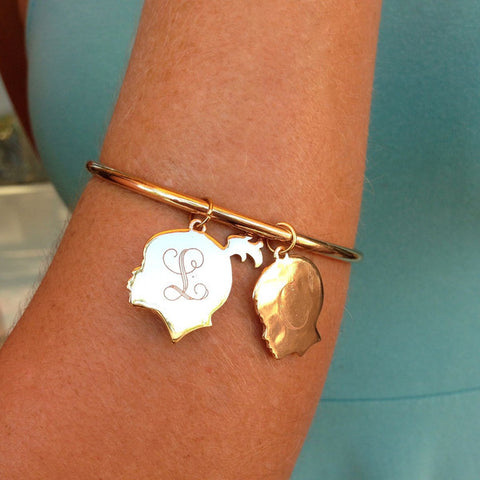 Pretty in Pearls & Rose Monogram Bangle Set (ONLY SILVER AVAILABLE)