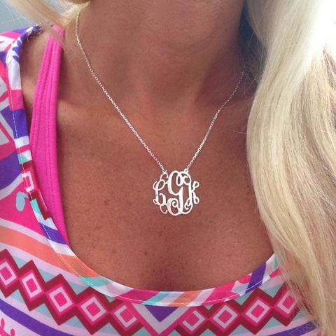 Monogram Layered Tassel Stone Necklace