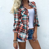 Monogram Blush Plaid Button Down
