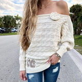 Monogram Rosette Sweater