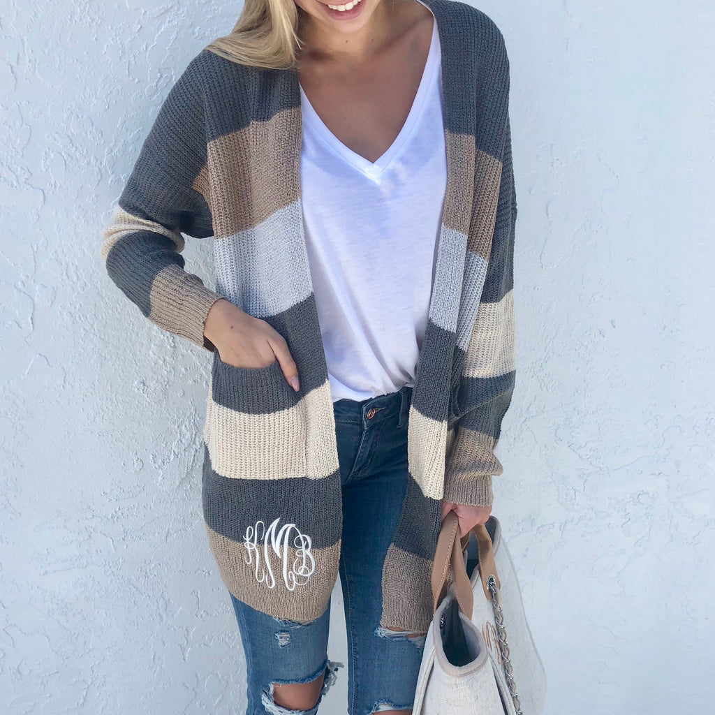 Monogram Spiced Striped Cardigan