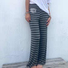 Monogram Pink and Gray Striped Pants