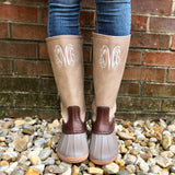 Monogram Taupe Duck Boots