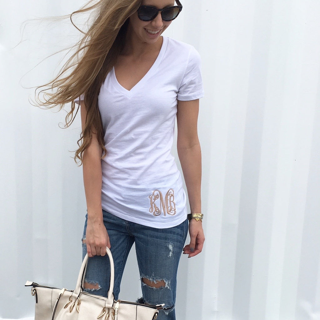 Monogram Whitney White V-Neck Tee