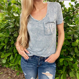 Monogram Steel Blue Pocket Tee