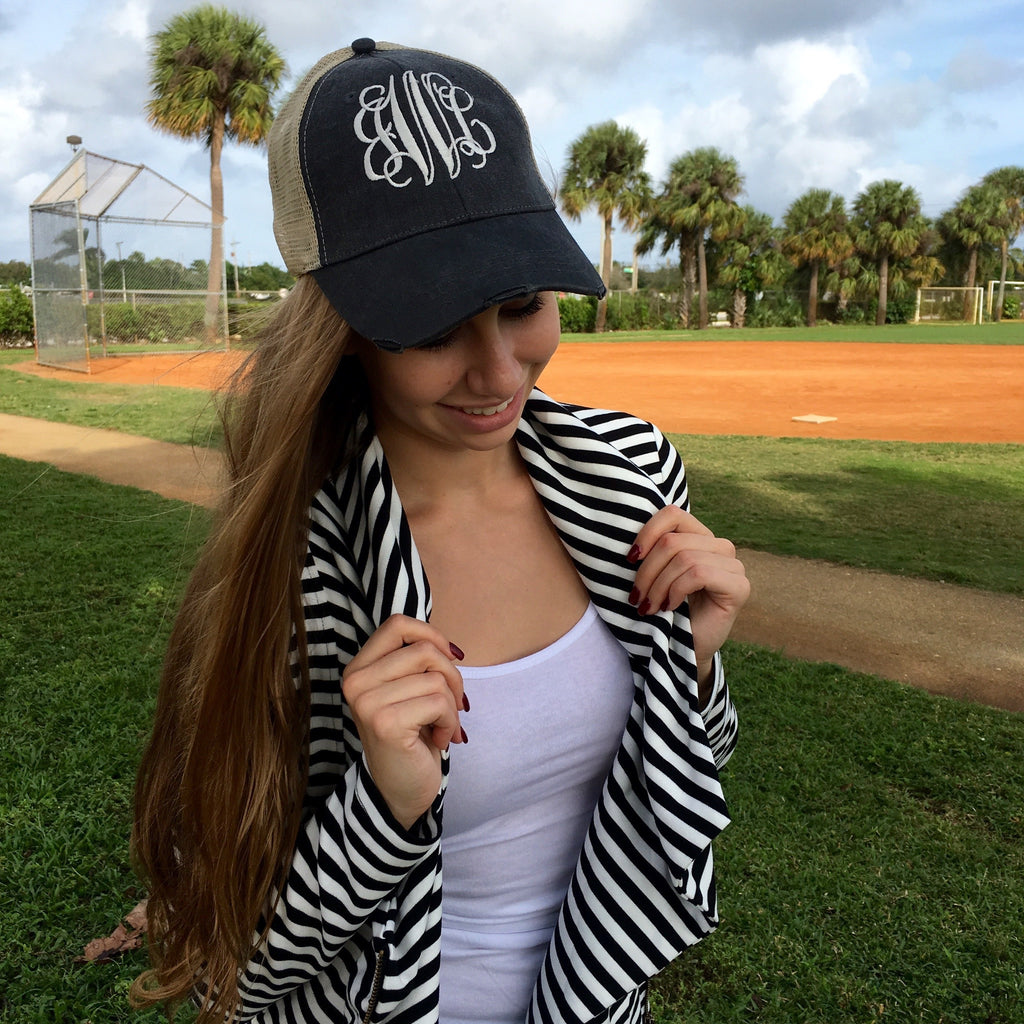 Monogram Distressed Denim Hat
