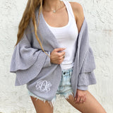 Monogram Royal Ruffle Sleeve Cardigan
