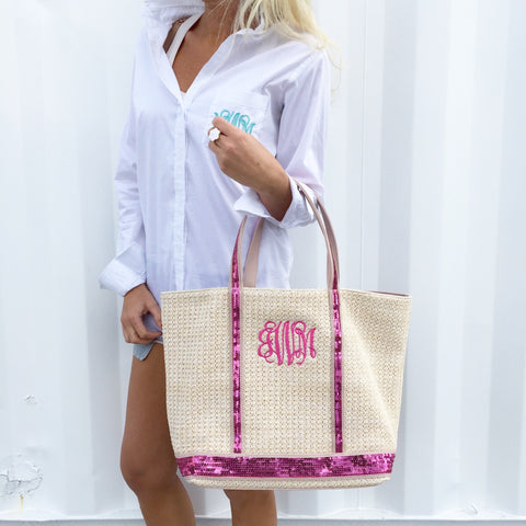 Monogram Straw Shoulder Bag