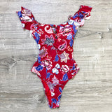Red Paisley Bathing Suit