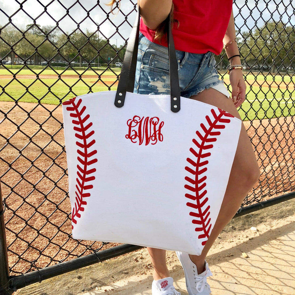 Monogram Baseball Tote Bag