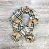 Monogram Taupe Plaid Scarf