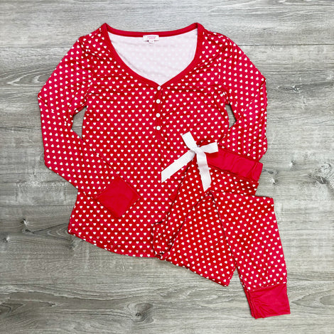 Monogram Red Heart Pajama Set