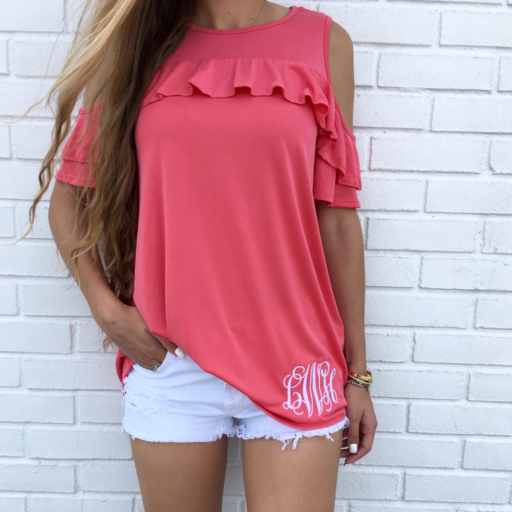 Monogram Carly Cold Shoulder Ruffle Top