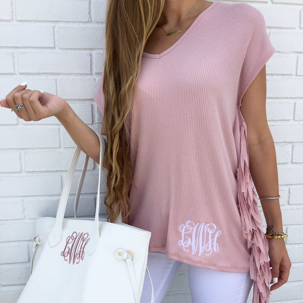 Monogram Fringe Top