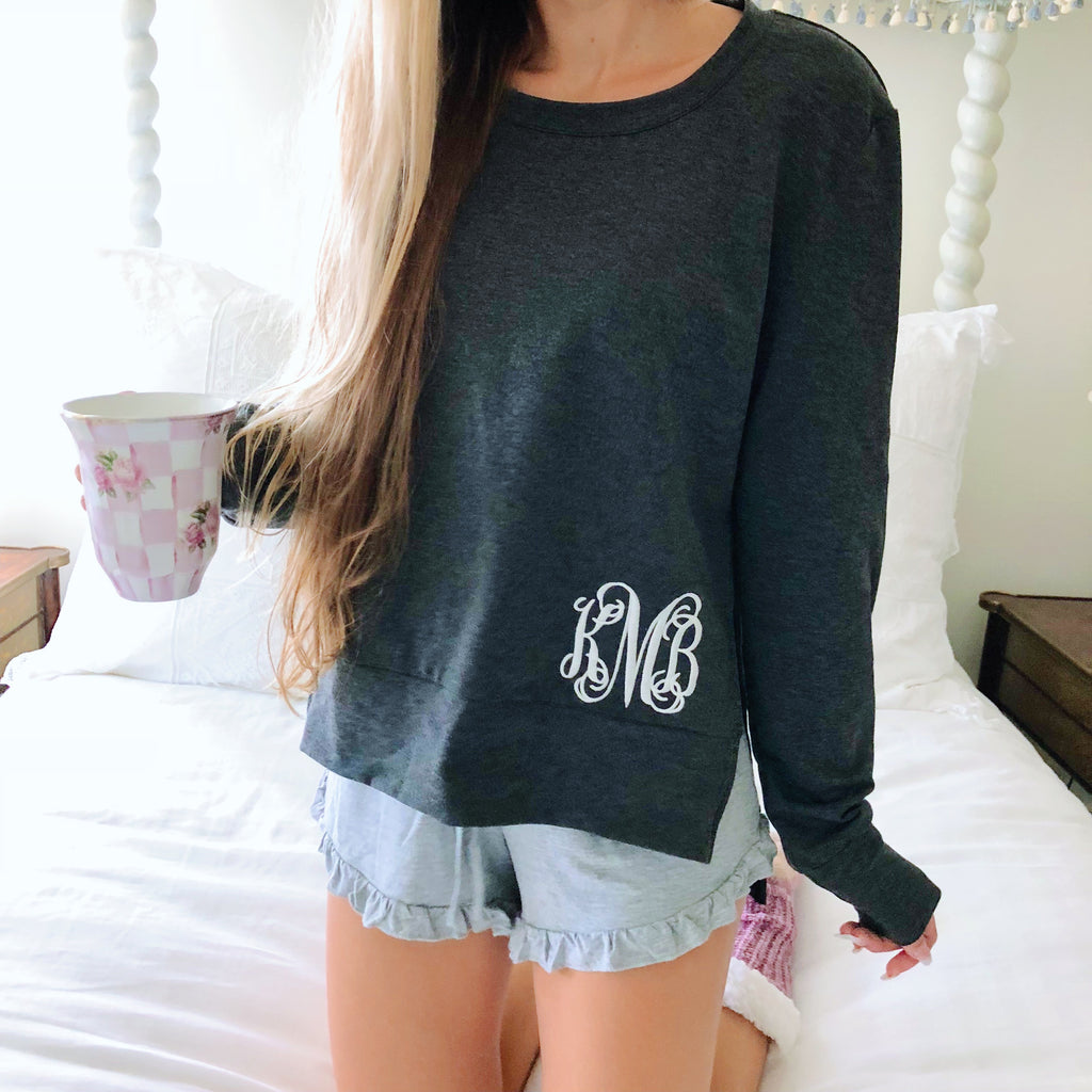 Monogram Charcoal Side Slit Pullover