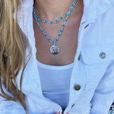 Monogram Disc Layered Crystal Necklace