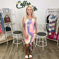 Rainbow Tie Ruffle Cinch Dress