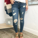 Monogram Dean Distressed Skinny Jeans