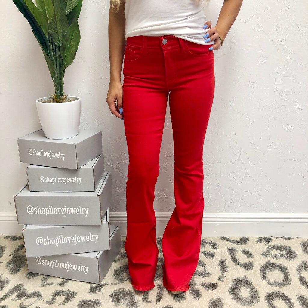 Monogram Red Flare Jeans