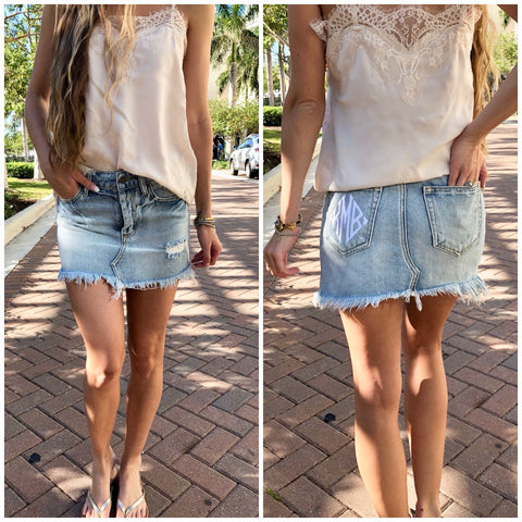 Rust Distressed Jean Shorts