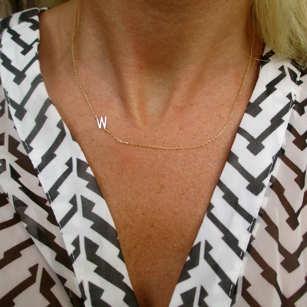 Sideways Initial Necklace - Silver Initial, Gold Chain