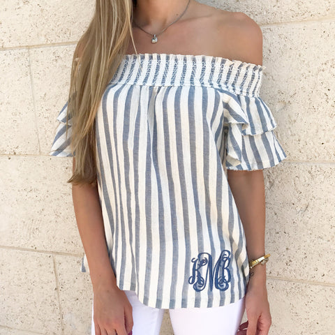 ae004cacf57756 Monogram Carly Cold Shoulder Ruffle Top – I Love Jewelry