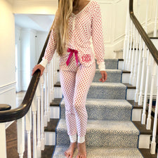 Pink with Black Trim Pajama Pants