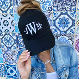 Monogram Messy Bun Hat