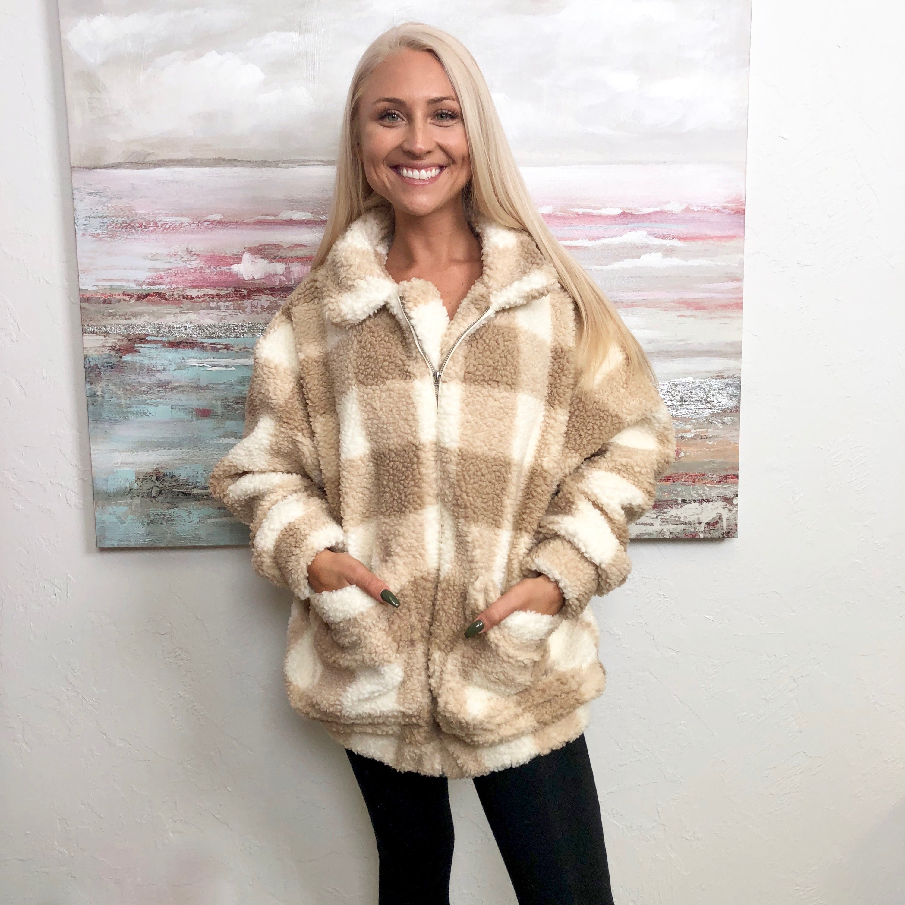 Monogram Plaid Teddy Bear Jacket