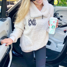 Monogram Rust Tie Back Sweater