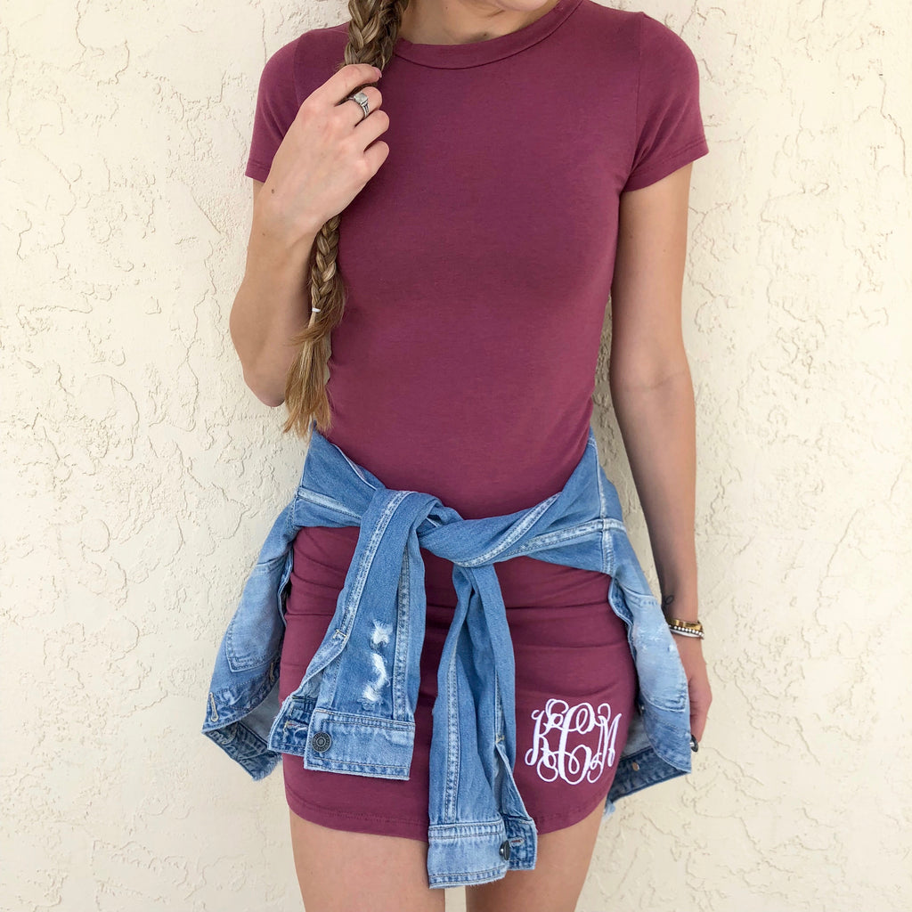 Monogram Mauve T-Shirt Dress