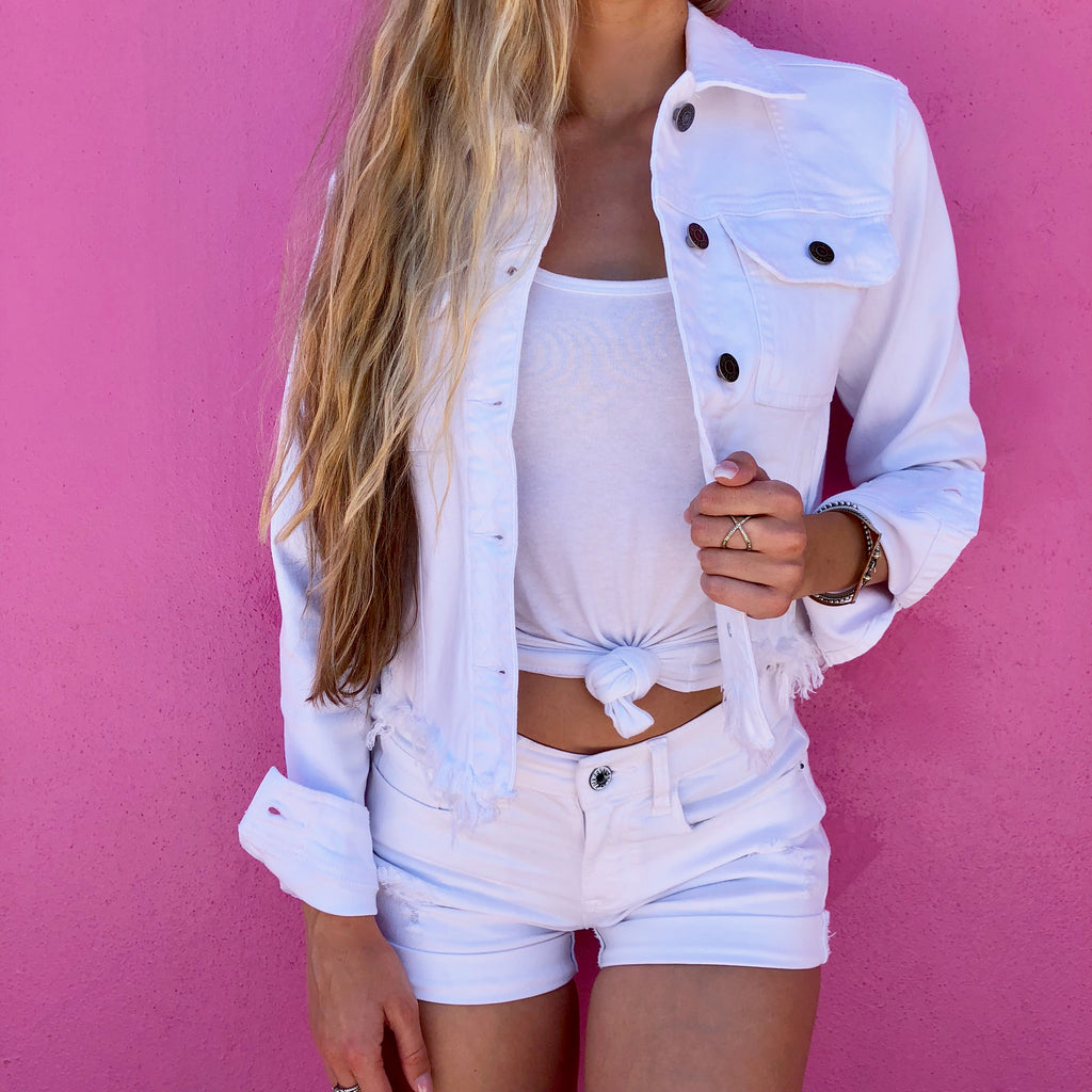 Personalized White Jean Jacket