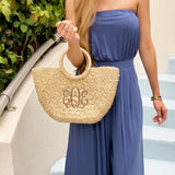 Monogram Erin Straw Bag