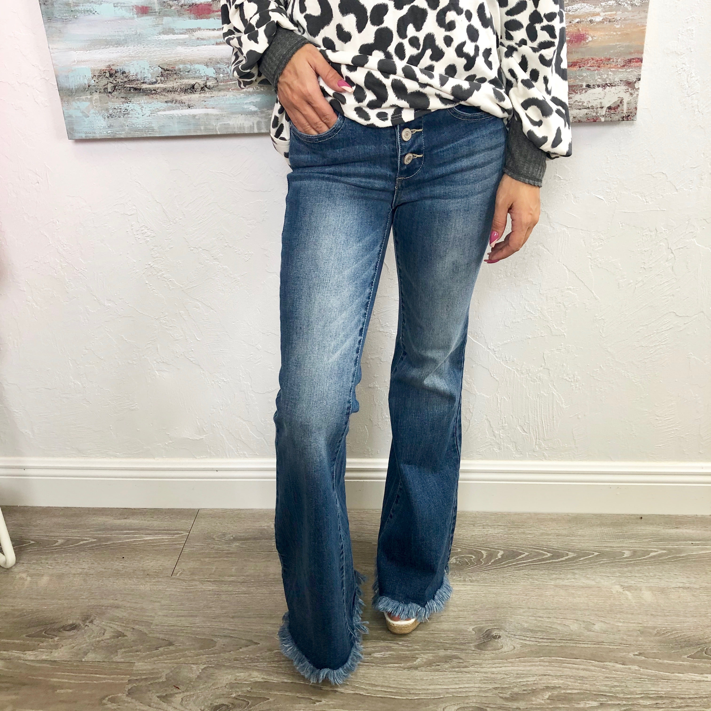 Monogram Frayed Bell Bottom Jeans
