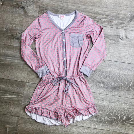 Monogram Girls Heart Ruffle Romper