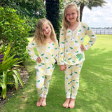 Monogram Girls Lemon Pajama Set
