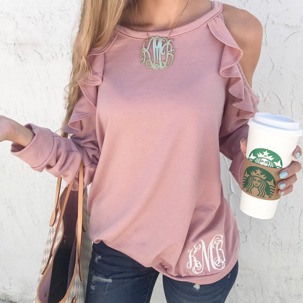 5a8fe53fd0f3a4 Monogram Lexi Cold Shoulder Ruffle Top – I Love Jewelry