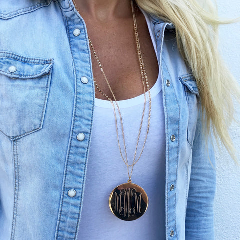 Monogram Dash Lariat Necklace