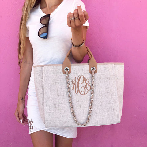 Monogram Savilla Straw Bag