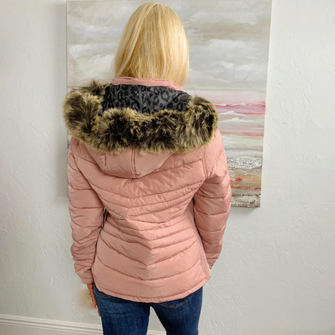 Mystic Mauve Spotted Reversible Puffer Jacket with Faux Fur Hood