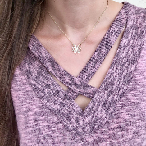 Lace Monogram Necklace - .5 Inch