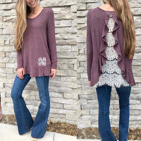 Monogram Lace Up Pullover