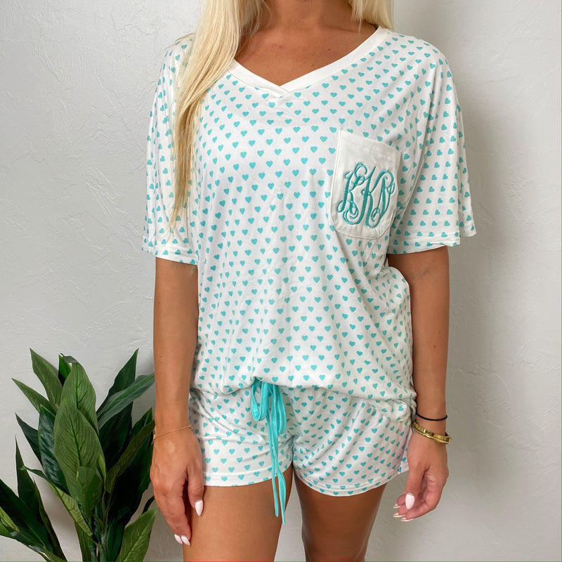 Monogram Mint Heart Shorts Set