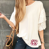 Monogram Eyelet Bell Sleeve Top