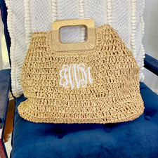 Monogram Royal Striped Tote Bag