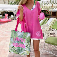 Monogram Palm Print Pajama Shorts Set